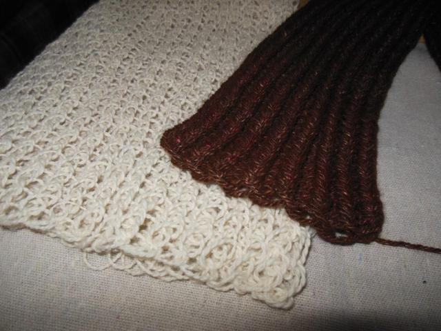 White scarf is single stitch, brown scarf is double stitch