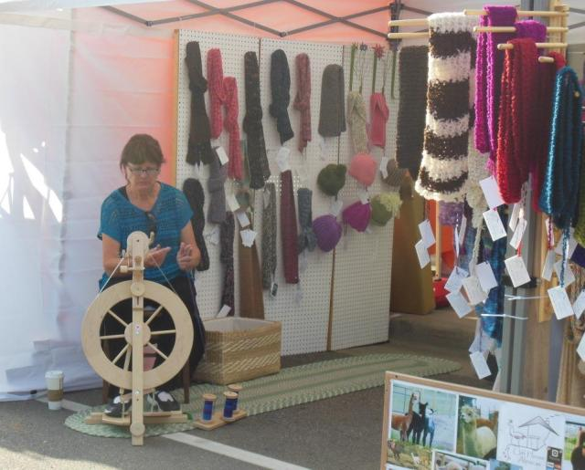 Aunt Geri created a 3 ply spool of hand dyed 100% alpaca in the morning